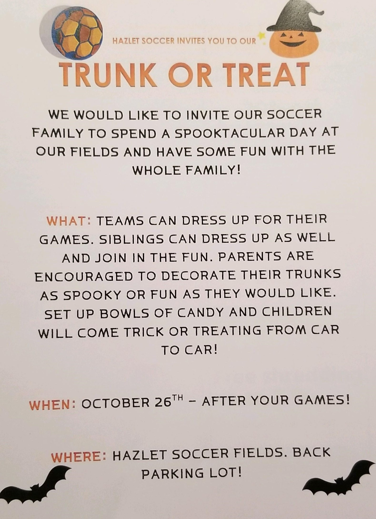 Trick or Trunk - Saturday October 26th